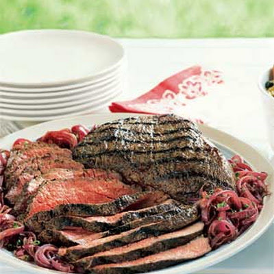Barbecued Tri-Tip with Caramelized Red Onions