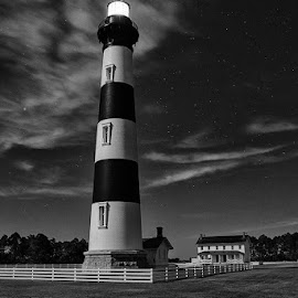 by Walter Farnham - Typography Quotes & Sentences ( bodie lighthouse, verticle, nighttime, lighthouse, bible verse )