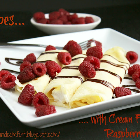 Crepes with Cream Filling and Raspberries
