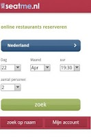 Screenshot of SeatMe restaurants reserveren