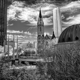 Dallas Weekday by Tom Shope - Buildings & Architecture Office Buildings & Hotels ( buldings, skyline, skyscraper, black and white, dallas )