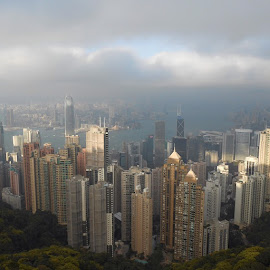 The Hong Kong Skyline.  Taken on February 11th, 2013#中国 #香港 #高楼大厦 #天空 #美丽 by Purr Fecdizzo - City,  Street & Park  Skylines ( Hongkong, Skyline, Skyscrapers, Victoriaspeak, City, Sky, China, Sunlight, Clouds )
