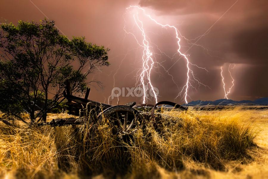 Wheatbelt Thunderstorm by Craig Eccles - Landscapes Weather ( thunder, lightning strike, lightning storm, straw, clouds., wagon, storm, lightning, lightning bolt, tree, hay, weather, thunder storm, thunder bolt,  )