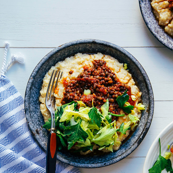 "vegan BBQ lentils with millet ""polenta"" Recipe 