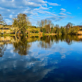 Looking up the Derwent by Stuart Lilley - Landscapes Waterscapes ( water, reflection, tree, belper, trees, reflections, rivers, river, derbyshire,  )
