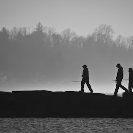 Foggy Fishing by Rob Cox - People Street & Candids