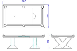 CAD Drawing of a Custom Designed Pool Table - Ebonised Finish with Shagreen and Brass Detailing