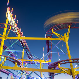 Roller Coaster in Motion by Jon Cody - City,  Street & Park  Amusement Parks ( rides, roller coaster, night, motion, fair )