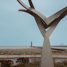 Kenosha Harbor by Riley Seebeck - Buildings & Architecture Statues & Monuments ( kenosha, wisconsin, lighthouse, fabrication, lake, beach, city park, city, sculpture, statue, lake michigan, red, blue, metal )