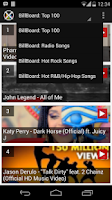 Screenshot of BillBoard Music Chart