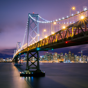 Bay Bridge and San Francisco Skyline by Jerome Obille - Buildings & Architecture Bridges & Suspended Structures ( night photography, california, jobille, long exposure, architecture, cityscape, bridge, bay bridge and san francisco skyline, under the bridge, city, night )