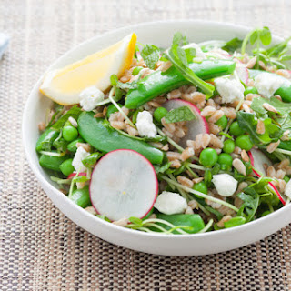 Three Pea Salad with Lemon Farro & Goat Cheese