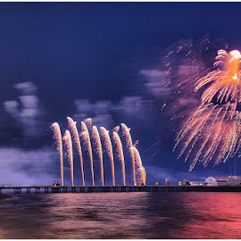 Fireworks Blackpool by John Pate - Landscapes Travel ( night photography, fireworks, north pier, blackpool, world fireworks championship )