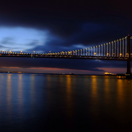 Between Light and Dark by James Barcelona - Buildings & Architecture Bridges & Suspended Structures ( bay bridge, san francisco )