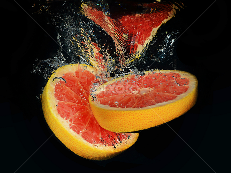 Anyone for a Grapefruit ? by Mike S Candleghost - Food & Drink Fruits & Vegetables ( water, mike s, high speed photography, dive, ms studio, nikon, grapefruit, d3s )