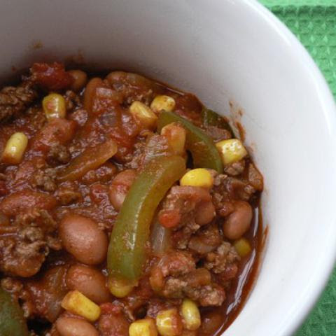 Low Fat Beef, Pinto Bean and Sweet Corn Chili