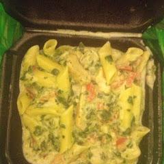Gluten free asiago spinach chicken penne pasta