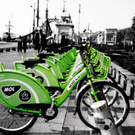 Budapest Bikes - selected colour by Andrew Robinson - Transportation Bicycles ( budapest, bikes, rental bike, lime green, selective color, pwc )