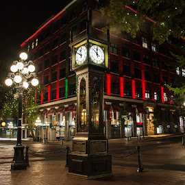 Gastown Steamclock by Stephanie Snow - City,  Street & Park  Historic Districts ( red, midnight, clock, gastown, steamclock, vancouver )
