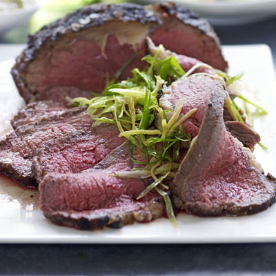 Roast beef sirloin with simple Asian sauce