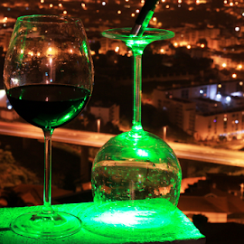 Laser Experiments by Virgílio Nóbrega - Abstract Light Painting ( glass of red wine, glass laser, laser experiments, green laser, laser )
