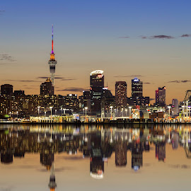 auckland skycity tower new zealand by Michael Jan - City,  Street & Park  Skylines ( tower, reflection, night lights, auckland, newzealand skycity tower, night, city night )