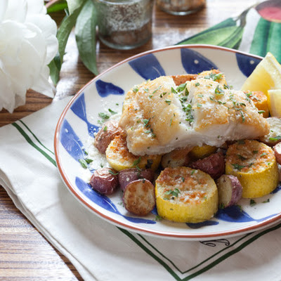 Cod with Parmesan-Crusted Squash & Roasted Red Potatoes
