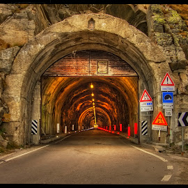 tunnel to Timmelsjoch by Petr Klingr - Buildings & Architecture Other Exteriors ( hdr, road, traffic light, alps, tunnel )