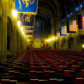 West Point Cadet Chapel interior by Del Candler - Buildings & Architecture Public & Historical ( books, interior, flags, west point, cadet chapel, pews, hymnals, rows, vertical lines, pwc,  )