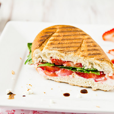 Strawberry Panini with Arugula and Goat Cheese