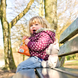 Lily, on a bench! by Jonathan Hall - Babies & Children Child Portraits