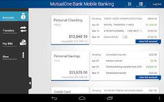 Screenshot of MutualOne Bank Mobile Banking