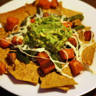 Roasted Sweet Potato and Poblano Nachos with Guacamole