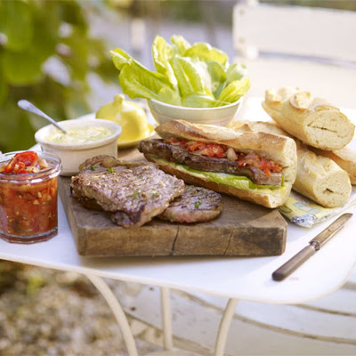 Sirloin Steak Sandwiches With Smoky Relish