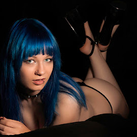 Little Miss Mae by Mark Davis - Nudes & Boudoir Boudoir ( thong, model, blue, butt, heels )