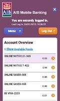 Screenshot of AIB Mobile