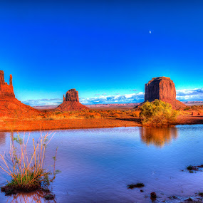 Wet Mittens by Jim Moon - Landscapes Deserts ( water, clouds, monument valley, moon, desert, blue skys, hdr, mittens, fine art, jim moon, usa, whisper river photography, arizona,  )