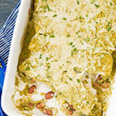 Rice & Bean Enchiladas with Creamy Tomatillo Sauce