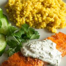 Coriander Grilled Salmon with Cilantro-Yogurt Sauce