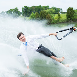 Barefoot Brother by Tiffany Lett - Sports & Fitness Watersports ( skiing, may 2014, tiffany lett, lake, boat, copyright tiffany lett 2014, barefoot )