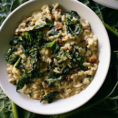 Crispy Grilled Kale and Pancetta Risotto