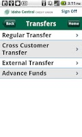 Screenshot of ICCU Mobile Banking
