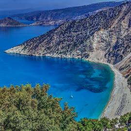 Myrtos by Stratos Lales - Landscapes Beaches ( sand, bpat, sea, beach, island )