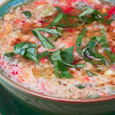 Confetti Gazpacho with Yellow Tomatoes, Red Pepper, and Basil