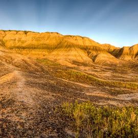 Toadstool Geologic Park by Brandon Engel - Landscapes Mountains & Hills ( contrast, sunrays, toadstool, landscape, nebraska )