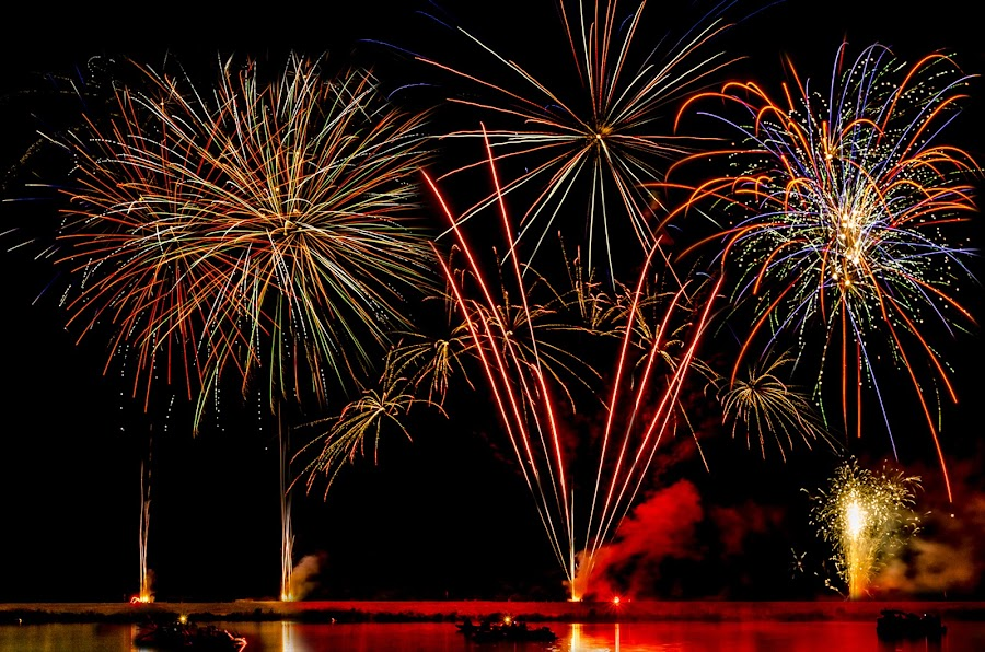 Grand Finale by Michele Dan - Abstract Fire & Fireworks ( fire work, night photography, lakes, 4th of july, fireworks )