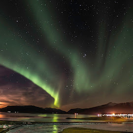 Iceland Northern Lights by Paul Haines - Landscapes Starscapes ( iceland, iceland northern lights, aurora borealis, northern lights, moonrise )