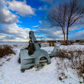 Anchors Away by Leslie Nu - Buildings & Architecture Statues & Monuments ( waterscapes, landscape, cook inlet, anchor )