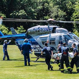 Medflight takes away a paitent by Matt Weaver - News & Events Disasters ( helicopter, boston, westport, ma, 9liner, med flight, medivac, massachusetts, fire department )