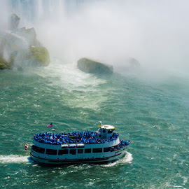 Horn Blower Boat by Deep Bhatia - Transportation Boats ( horn blower boat, canada, water falls, niagra falls )